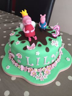Peppa pig cake #muddy puddle #peppa #george