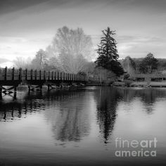 Reflection Of Scenic Wooden Bridge And Trees on The Deschutes River Black And White Fine Art Photography Print  My photographs have been featured in over 46 Fine Art America groups   http://fineartamerica.com/featured/reflection-of-scenic-wooden-bridge-and-trees-on-the-deschutes-jerry-cowart.html?newartwork=true