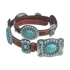 RODEO HAIR ON TURQUOISE WESTERN CONCHO BELT