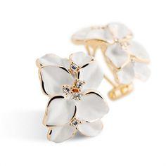 Crystal Gardenia Flower Ear Stud Earrings With Buckle Black Gardenia Flower #ebay #Fashion