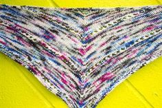 """Chris knit this fun and bright version of the """"Age of Brass and Steam Shawl"""" (a freebie on Ravelry!) in the limited edition color Miss Babs recently dyed for our Micro-Brew collection - Lolla All Day Long! The yarn is Kaweah, a DK weight with a generous yardage of 270 yards. Chris was able to knit this entire little shawlette with just 1 skein! http://www.ravelry.com/patterns/library/the-age-of-brass-and-steam-kerchief"""