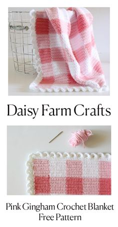 Pink Gingham Crochet Blanket - Free Pattern from Daisy Farm Crafts