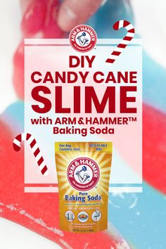 Make  a  fun  and  festive  DIY   candy  cane  slime  with  Arm  &   Hammer™  Baking  Soda.   Combine  5  oz  white  glue  with  1   tbsp  Arm  &  Hammer™  Baking   Soda,  3  drops  of  food   Coloring, and  2  tsp  contact  solution.   Stretch  and  knead  as  desired   for  the  most  wonderful  slime  of   the  year!