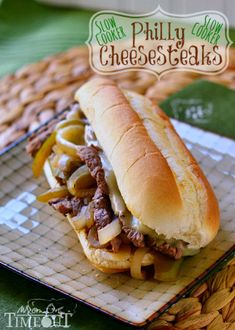 Take the stress out of dinner time with these Slow Cooker Philly Cheesesteaks! A delicious meal that is so easy to make any night of the week! | MomOnTimeout.com
