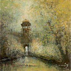 A. Q. Arif, 14 x 14 Inch, Oil on Canvas, Cityscape Painting-(EXB-22), AC-AQ-075