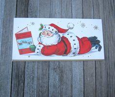 Adorable Unused Vintage Christmas Card Santa by MintysMercantile