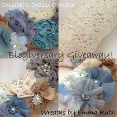 #giveaway #wreaths #blogiversary #lace #flowers #rhinestones #beads #wreathsbyemmaruth