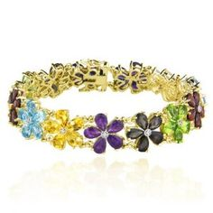 "Yellow Gold Plated Sterling Silver Multi-Gemstone Flower Bracelet, 7.25"" - http://www.wonderfulworldofjewelry.com/jewelry/bracelets/link/yellow-gold-plated-sterling-silver-multigemstone-flower-bracelet-725-com/ - Your First Choice for Jewelry and Jewellery Accessories"