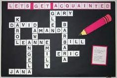 Bulletin Board for Back to School- I have always wanted to do this! And I can use an online crossword maker to automatically fit my students' names.