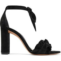Alexandre Birman Lupita ruffled knotted suede sandals ($372) ❤ liked on Polyvore featuring shoes, sandals, black, kohl shoes, almond toe shoes, black shoes, block heel shoes and alexandre birman shoes