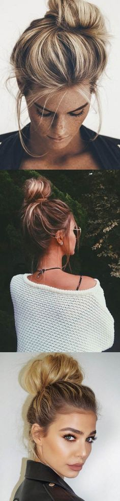 Easy top knot ideas More Good Hair Day, Great Hair, Messy Hairstyles, Pretty Hairstyles, Coco Hair, Easy Top Knot, Hair Today, Hair Dos, Gorgeous Hair