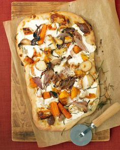Roasted Fall Vegetable and Ricotta Pizza. I added fresh grated parmesan and more rosemary would be good.