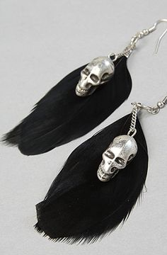 The Feather and Skull Earrings by *Accessories Boutique