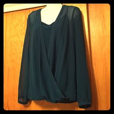 DKNY 2 piece top Brand: DKNY   Size: Small   Color: Blue-green or Green-blue   2 piece: tank top and see thru blouse   I bought this at Burlington coat factory and it still has a partial tag. I never got the chance to wear it out. DKNY Tops Blouses