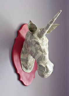 Paper Mache Unicorn Head.