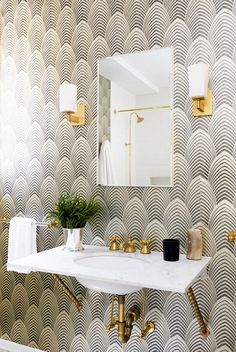 Wallpaper 101 - The Ultimate Guide to Wallpaper | Modern gray + gold powder room
