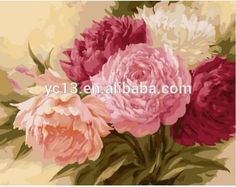 Colourful flower DIY number canvas oil painting