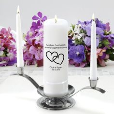 Personalized Unity Wedding Candle w/Stand- Two Lives Two Hearts