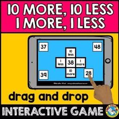 10 MORE, 10 LESS, 1 MORE, 1 LESS GAME (MASTERING 100 CHART DIGITAL GAME)  A fun, digital interactive game for children to practice 10 more, 10 less, 1 more and 1 less. After kids drag the 4 numbers onto the correct box, they click on 'Submit' button to check if they got the answers correct. Perfect for First Grade Math centers, whole class activity, homeschooling and more!