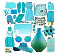 """""""Blue"""" by sydpat ❤ liked on Polyvore featuring MANGO, Tattly, Accessorize, Cyan Design, Casetify, Everest, Speck, Herschel, Old Navy and Blu Bijoux"""