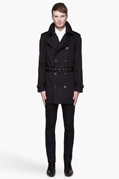 Saint Laurent Black Short Trench Coat for men | SSENSE