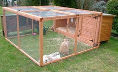 Rabbit hutch, som denna kanske förutom huset somska va högt upp, lyft upp taket så man kan gå ner och sitta i