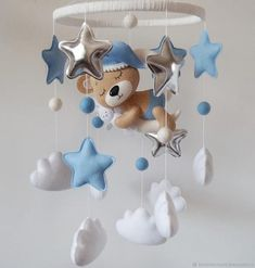 Baby mobile - teddy bear mobile - moon mobile - baby crib mobile - star mobile - mint and navy - clo Star Mobile, Cloud Mobile, Baby Boy Rooms, Baby Boy Nurseries, Baby Room Decor, Nursery Decor, Moon Nursery, Baby Presents, Baby Crib Mobile
