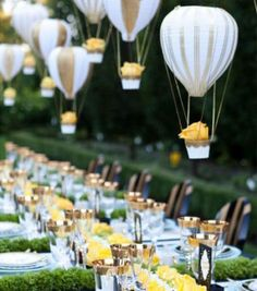 amazing wedding tablescape ideas with hot air balloon lights                                                                                                                                                                                 More