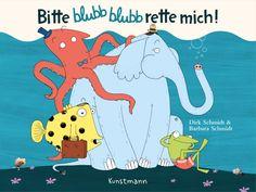 Barbara & Dirk Schmidt - Bitte blubb blubb rette mich!: Kamfu mir nochmal helfen? Der kleine blaue Elefant ist zurück – und wieder einmal ist er viel zu schnellunterwegs. Er stolpert über einen Stein geradewegs in einen See hinein und geht sofort unter. Zum Glück schaut sein Rüssel raus! Nicht lange dauert es, da kommt ein Fisch angeschwommen, den er um Hilfe bitten kann.