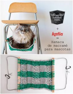 DIY Macrame Cat Hammock Tutorial from 2nd Funniest Thing for... | True Blue Me & You: For Creative People