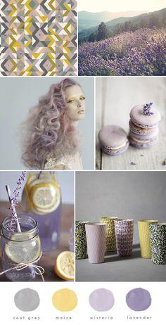 Lavender and lemon via The Lovely Drawer Colour Pallette, Colour Schemes, Color Trends, Color Combos, Lilac Living Rooms, Living Room Grey, Stil Inspiration, Colour Board, Corporate Design