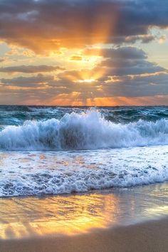 ~~Splash Sunrise ~ sunrays and crashing waves, Delray Beach, Florida by Debra And Dave Vanderlaan~~                                                                                                                                                     More