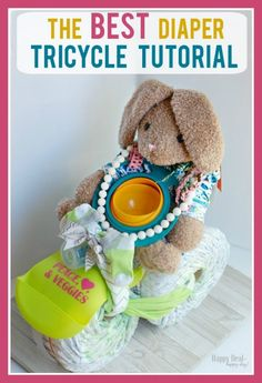Here is the BEST tutorial on how to make a diaper bike or diaper tricycle. There are great step-by-step images, along with links to the exact products used. Diaper Bike, Tricycle Diaper Cakes, Diy Diaper Cake, Nappy Cakes, Diaper Raffle, Unique Gifts For Girls, Gifts For Teens, Design Set, Lindt Sprüngli