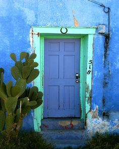 TITLE: Tucson Blue Door LOCATION: Tucson, Arizona This beautiful blue/purple door was found in in Tucson, AZ. Savor the wonderful southwest feel with this photo! ABOUT MY ART I'm a Boston-based photog Cool Doors, Unique Doors, The Doors, Windows And Doors, Grand Entrance, Entrance Doors, Doorway, Entrance Ideas, Door Knockers