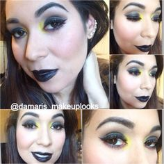 Punk couture haute couture lipstick with yellow eyeshadow and black