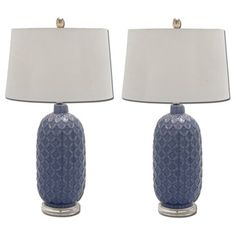 Shop for Bella Blue Trellis Ceramic Table Lamp (Set of 2). Get free shipping at Overstock.com - Your Online Home Decor Outlet Store! Get 5% in rewards with Club O! - 17536199