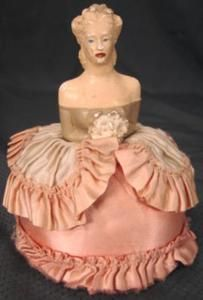 Vintage Southern Belle Chalk Half Doll Figure Satin Gown Sewing Pin Cushion | eBay