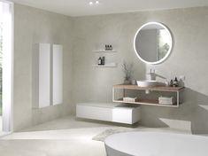 Met Life edge haal je de natuur in huis! Teak in combinatie met een wit alu frame, een ronde dampwerende spiegel en wit kraanwerk. Een stijl statement in je badkamer! Exclusief verdeeld door X2O #Balmani #X2O #frames #teak #life edge Bathroom Inspo, Bathroom Lighting, House Styles, Furniture, Home Decor, Inspiration, Collection, Trough Sink, Home