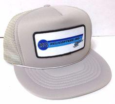 2416740c5bd NEW vtg 80 90s MG HELICOPTERS INC TRUCKER HAT Snapback Gray Blue Patch  Men Women  Capital  Trucker