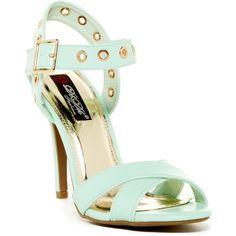 Elegant Footwear Jaily Crisscross Grommet Heel Sandal ($37) ❤ liked on Polyvore featuring shoes, sandals, mint, vegan sandals, ankle tie sandals, heeled sandals, stiletto sandals and vegan shoes