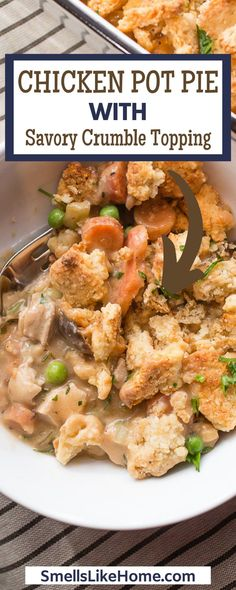 Chicken Pot Pie Recipe with a savory crumble topping, filled with juicy chicken and veggies in a yummy gravy. Homemade chicken pot pie is classic comfort food. This chicken pot pie with savory crumble topping is the BOMB! This is chicken pot pie for a crowd. It is a favorite crowd-pleaser and makes a lot of food. Homemade Chicken Pot Pie, Crumble Topping, Home Recipes, One Pot Meals, Weeknight Meals, Brunch, Veggies, Ethnic Recipes, Food