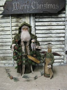 "Olde ""Peace On Earth"" Santa with Angel by Primitive Folk Artist Sue Corlett.~ Sunday Update!"
