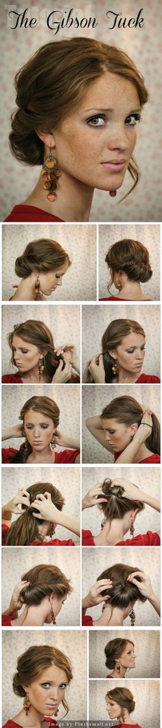 The Freckled Fox: Hair Tutorial // Das Gibson Tuck . # vintage Hairstyles ponytail The Freckled Fox: Hair Tutorial // Das Gibson Tuck … – ein Bild mit Gruppenbildern … Gibson Tuck, Gibson Girl, Elegant Hairstyles, Vintage Hairstyles, Easy Hairstyles, Vintage Updo, Hairstyle Ideas, Perfect Hairstyle, Gorgeous Hairstyles
