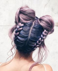 Purple braided buns Short hair, long hair, braids. Hair & Beauty inspiration blonde, bobs, buns, brunette, hair inspiration, hair styles, blonde hair, curly hair, hair style ideas.