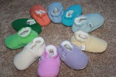 Custom Color Baby Booties in Upcycled Wool/Cashmere by SheepyShoes