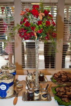 Red Roses on buffet table for Kentucky Derby party.