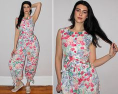 e0a5a0cbe54 Vintage 80s Floral Print Jumpsuit   HAREM Pant Bottoms   Sleeveless Onesie    Genie Pant   Pockets   Spring Summer Romper   Small Medium