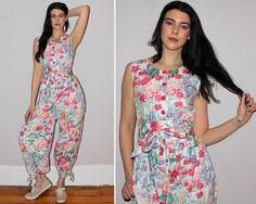 Vintage 80s Floral Print Jumpsuit / HAREM by PastLivesofNewYork