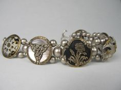victorian enamel medley bracelet with antique buttons