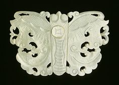 Buckle Plaque in the Form of a Butterfly, China, late Qing dynasty, about 1800-1911, Abraded jade